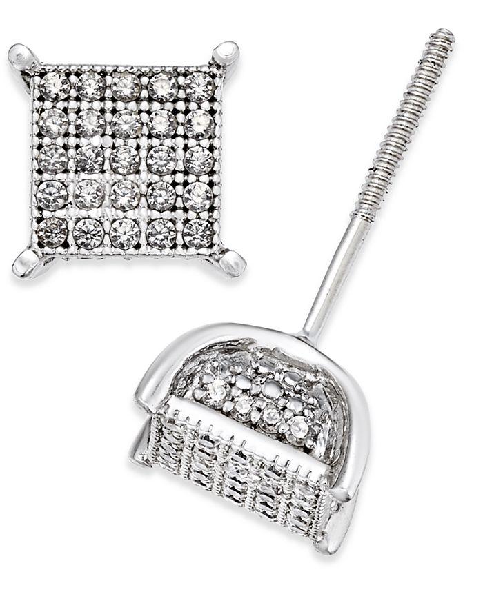 Macy's - Men's Diamond Square Cluster Stud Earrings (1/4 ct. t.w.) in Sterling Silver
