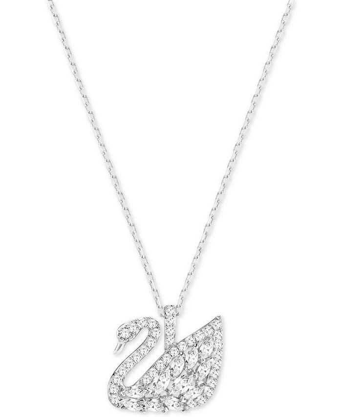 Swarovski - Silver-Tone Pavé Swan Pendant Necklace