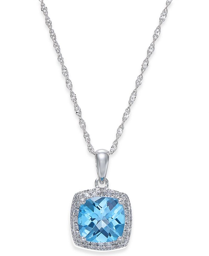 Macy's - Blue Topaz (1-1/2 ct. t.w.) and Diamond (1/10 ct. t.w.) Pendant Necklace in 14k White Gold