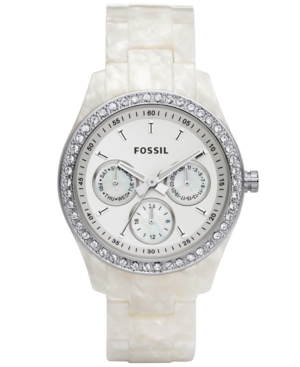 Fossil Watch Womens Stella White Pearlized Bracelet with Crystals 37MM ES2790