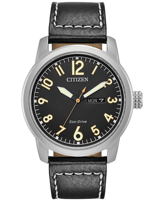 Citizen - Men's Eco-Drive Military Black Leather Strap Watch 42mm BM8471-01E