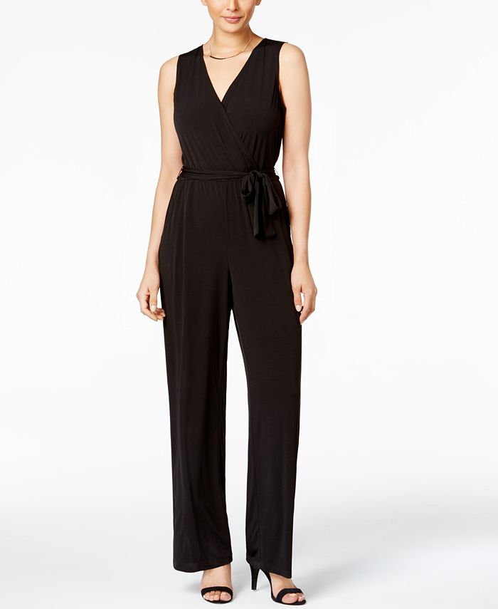 NY Collection - Petite Surplice Belted Wide-Leg Jumpsuit