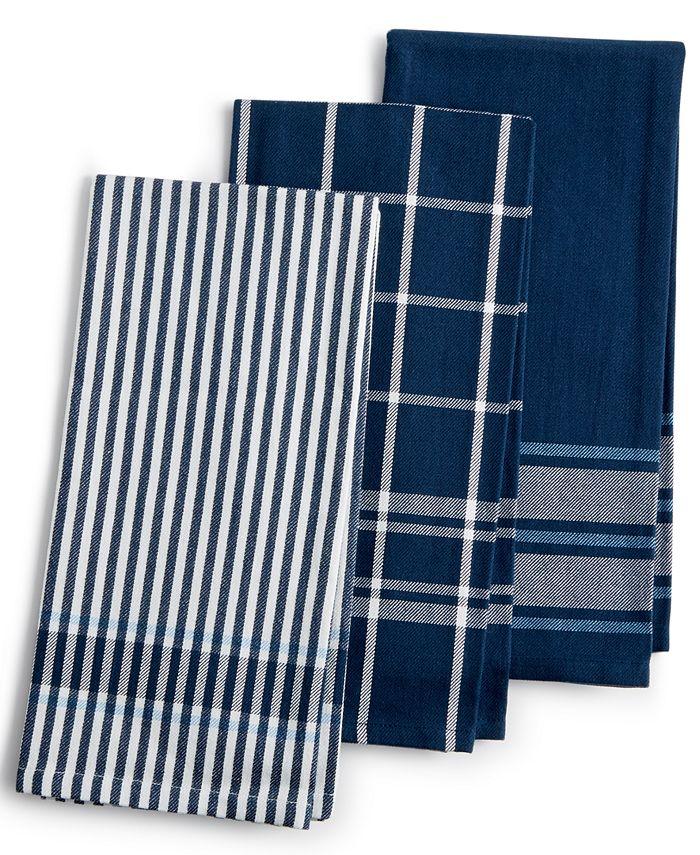 Martha Stewart Collection - 3-Pc. Jacquard Striped Cotton Kitchen Towels