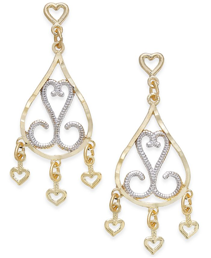 Macy's - Two-Tone Filigree Chandelier Earrings in 10k Gold and Rhodium Plated