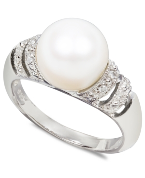 Pearl Ring, Sterling Silver Cultured Freshwater Pearl and Diamond Accent