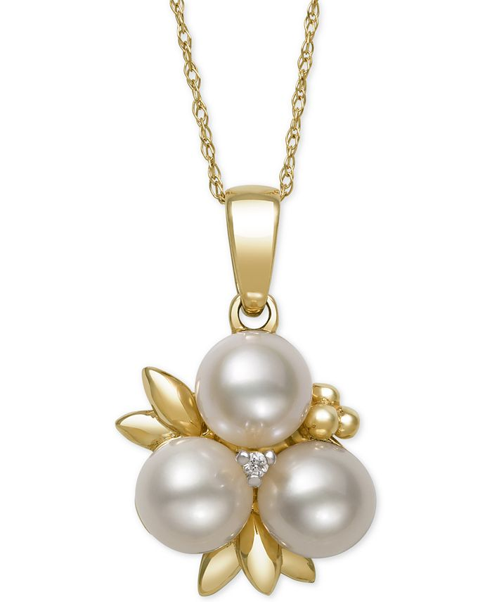 Belle de Mer - Cultured Freshwater Pearl (6mm) and Diamond Accent Pendant Necklace in 14k Gold