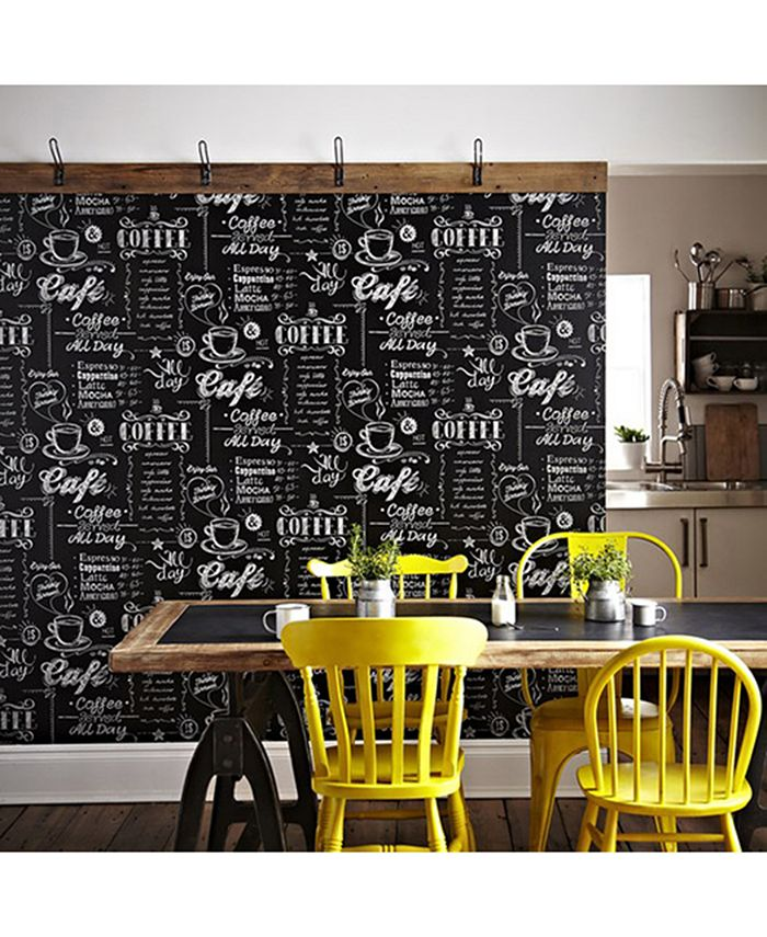 Graham & Brown - Coffee Shop Black and White Wallpaper