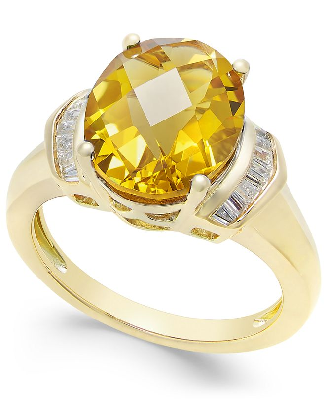 Macy's Citrine (4-1/4 ct. t.w.) and White Topaz (1/4 ct. t.w.) in 14k Gold-Plated Sterling Silver