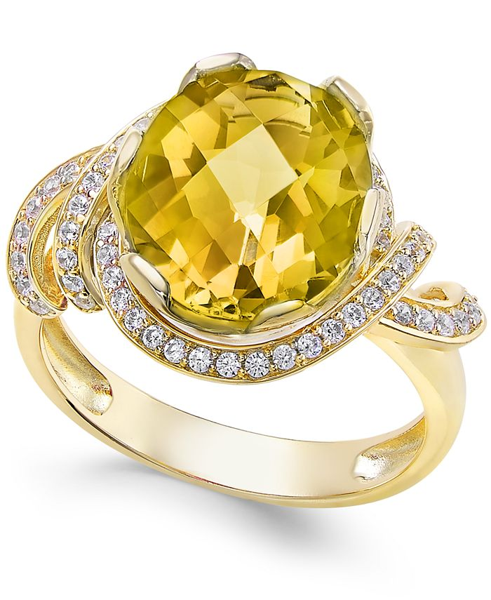 Macy's - Citrine (4-1/4 ct. t.w.) and White Topaz (1/3 ct. t.w.) Ring in 14k Gold-Plated Sterling Silver