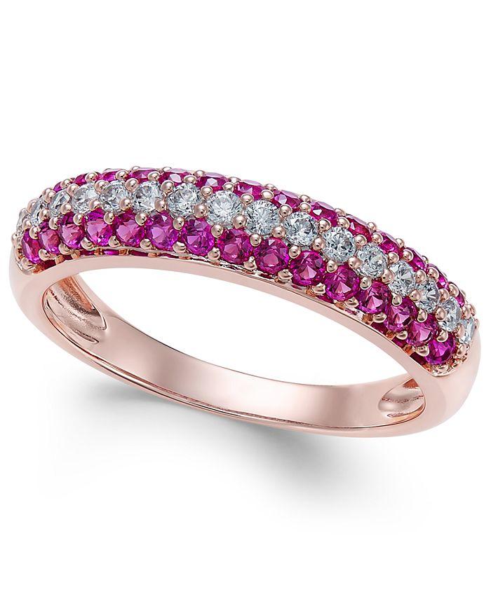 Macy's - Certified Ruby (1/2 ct. t.w.) & Diamond (1/4 ct. t.w.) Ring in 14k Rose Gold