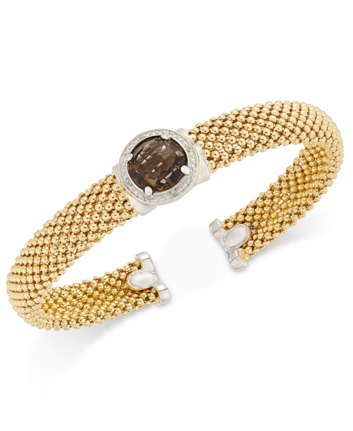 Macy's Smoky Quartz (3-3/8 ct. t.w.) and Diamond (1/5 ct. t.w.) Popcorn Mesh Bangle Bracelet in 14k Gold-Plated Sterling Silver & Reviews - Bracelets - Jewelry & Watches - Macy's