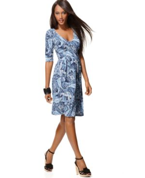 INC International Concepts Dress, Three Quarter Sleeve Paisley Print
