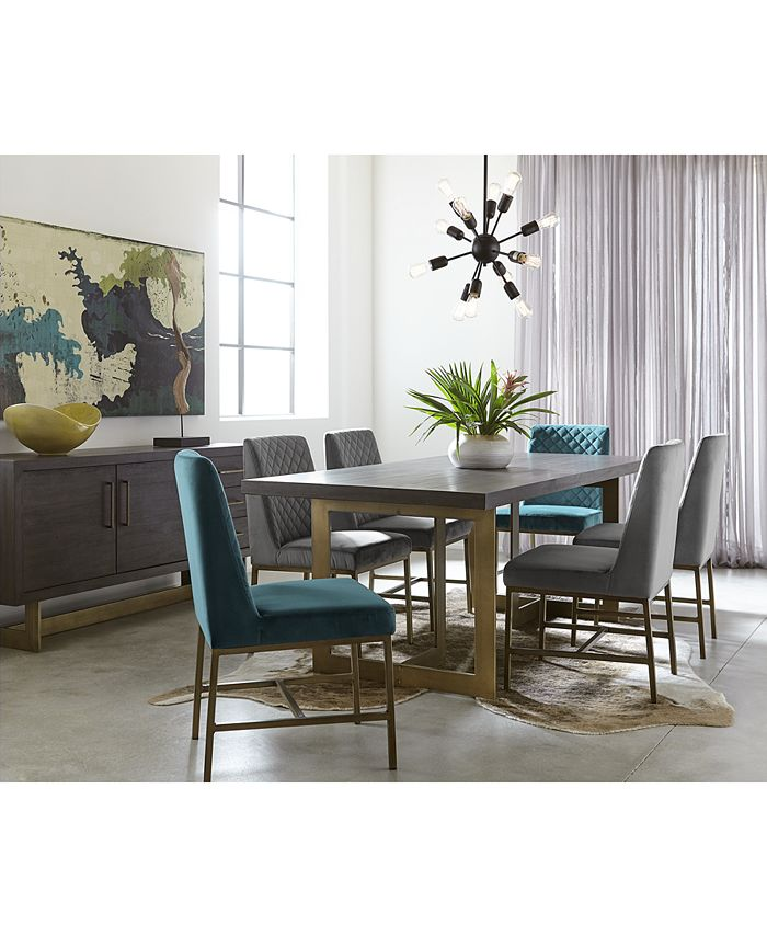 Furniture - Cambridge Dining  Set, 7-Pc. Set (Table, Teal & Grey Side Chairs), Only at Macy's