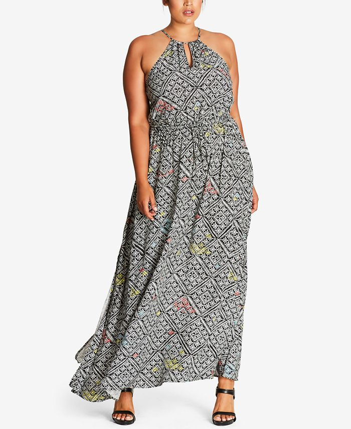 City Chic - Trendy Plus Size Tile-Print Maxi Dress