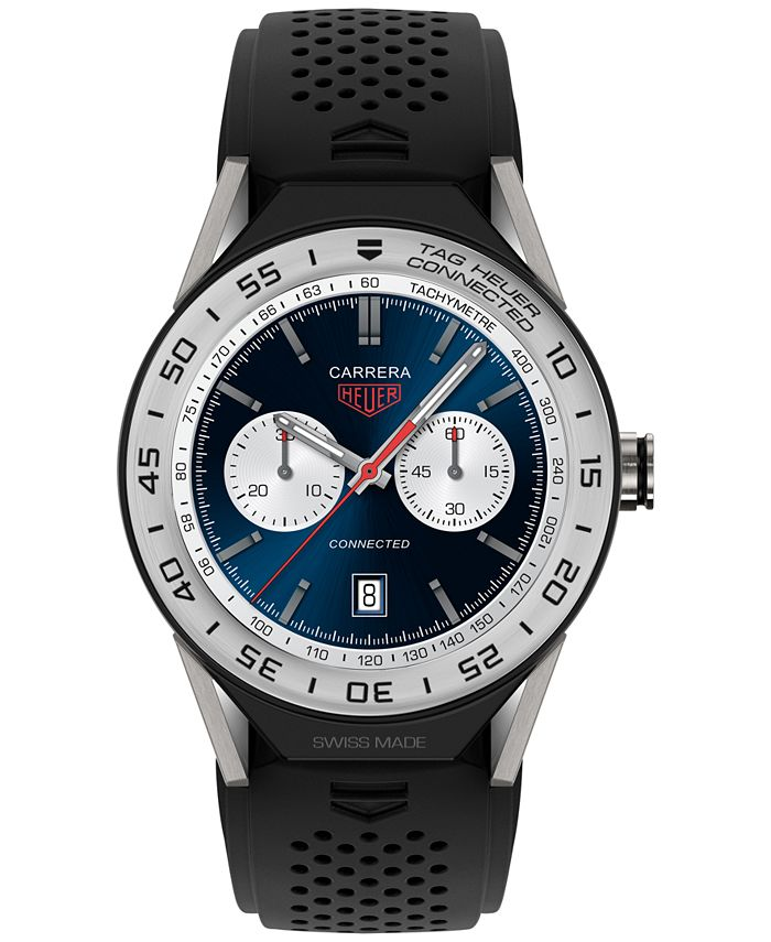 TAG Heuer - Men's Swiss Modular Connected 2.0 Carrera Black Rubber Strap Smart Watch 45mm SBF8A8014.11FT6076