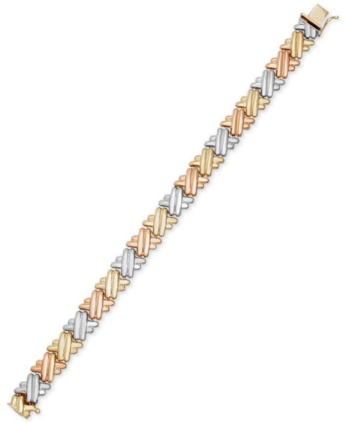 Italian Gold Tri-Tone Crisscross Link Bracelet in 14k Gold & Rhodium-Plating & Reviews - Bracelets - Jewelry & Watches - Macy's