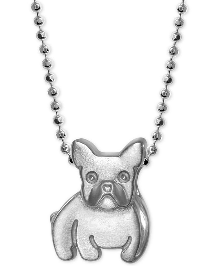Alex Woo - French Bulldog Pendant Necklace in Sterling Silver