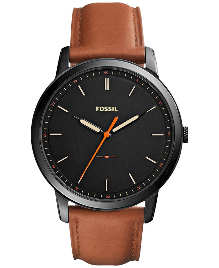 Fossil - Men's The Minimalist Brown Leather Strap Watch 44mm FS5305