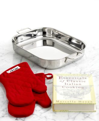 All-Clad Stainless Steel Lasagna Pan, Oven Mitts & Cookbook