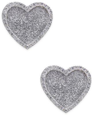 Diamond Glitter Heart Stud Earrings (1/4 ct. t.w.) in Sterling Silver