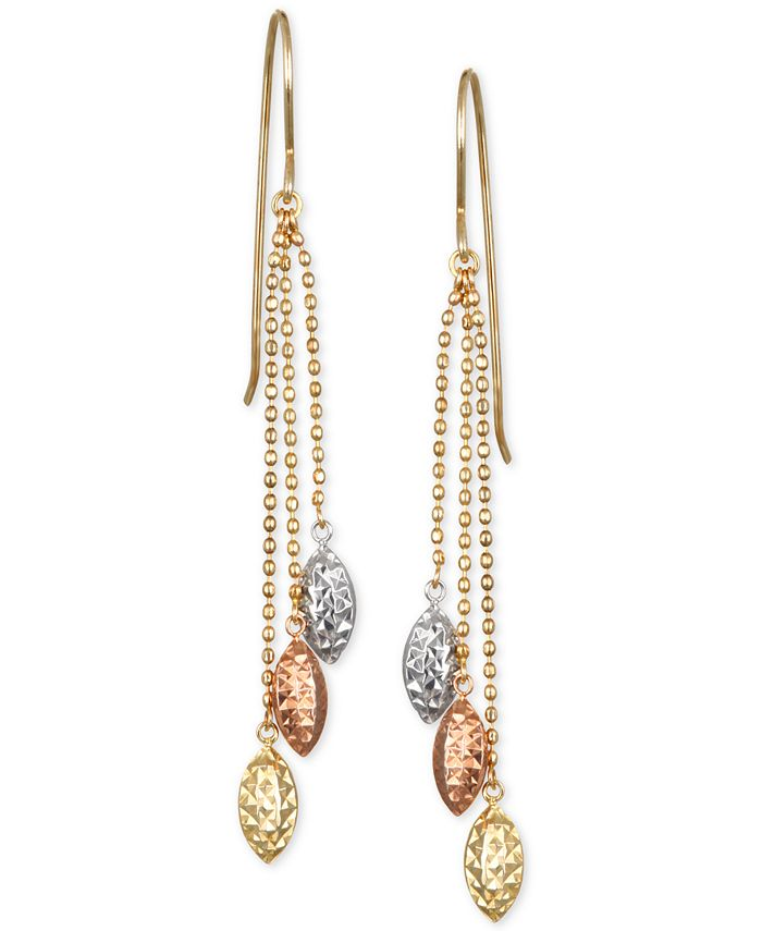 Macy's - Tri-Color Beaded Chain Drop Earrings in 10k Yellow, White and Rose Gold