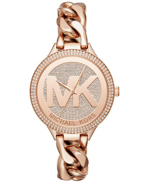 Michael Kors Women's Outlets Rose Gold-Tone Stainless Steel Chain Bracelet Watch 38mm MK3475