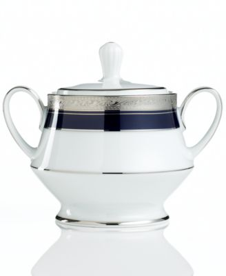 "Noritake ""Crestwood Cobalt Platinum"" Covered Sugar"