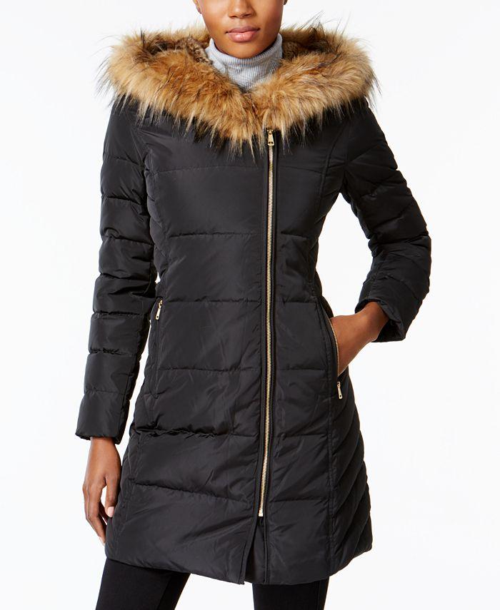 Cole Haan - Faux-Fur-Trim Asymmetrical Puffer Coat