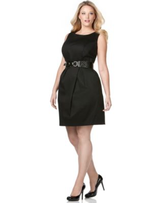 AGB Plus Size Dress, Sleeveless Belted Sheath