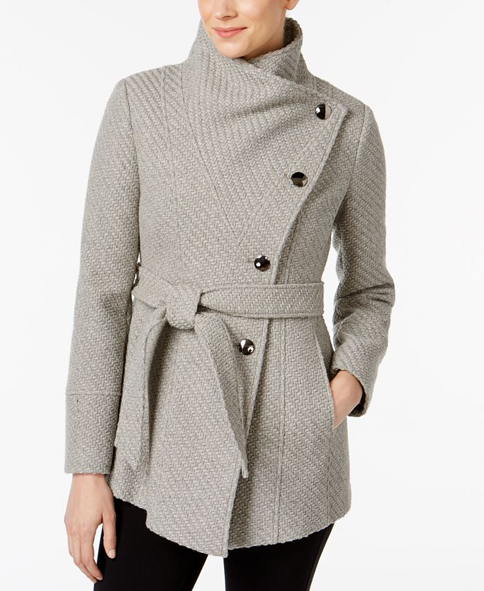 INC International Concepts - Asymmetrical Belted Knit Walker Coat, Only at Macy's