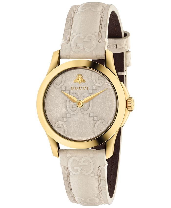 Gucci - Women's Swiss G-Timeless Mystic White Leather Strap Watch 27mm