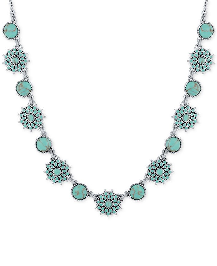 Lucky Brand - Silver-Tone Blue Stone Collar Necklace