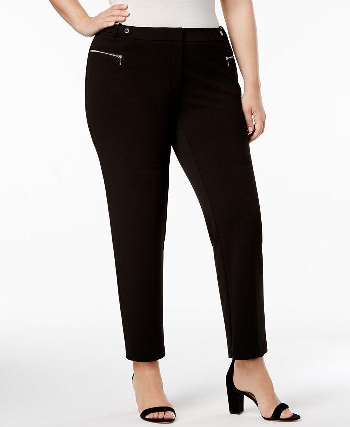 Calvin Klein - Plus Size Zip-Pocket Straight-Leg Pants