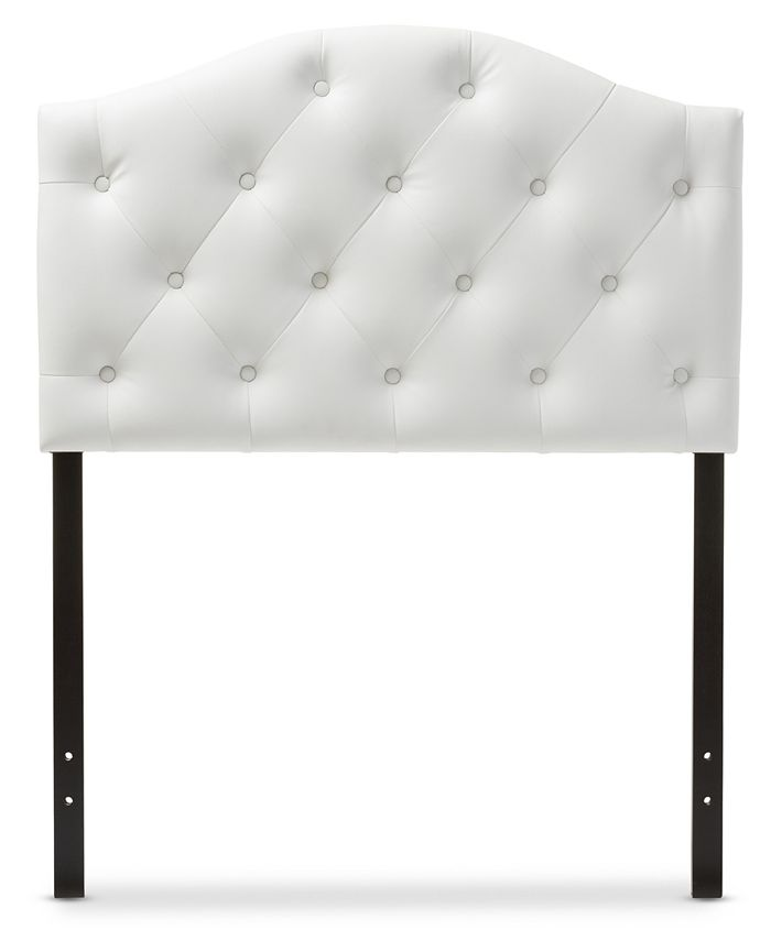 Furniture - Myra Faux Leather Upholstered Button-Tufted Scalloped Twin Headboard, Quick Ship