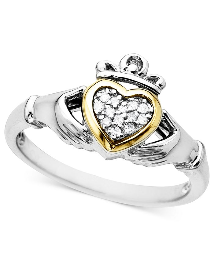 Macy's - 14k Gold and Sterling Silver Ring, Diamond Accent Claddagh