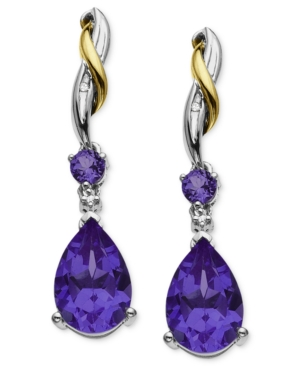 14k Gold and Sterling Silver Earrings, Amethyst (3-5/8 ct. t.w.) and Diamond Accent Drop