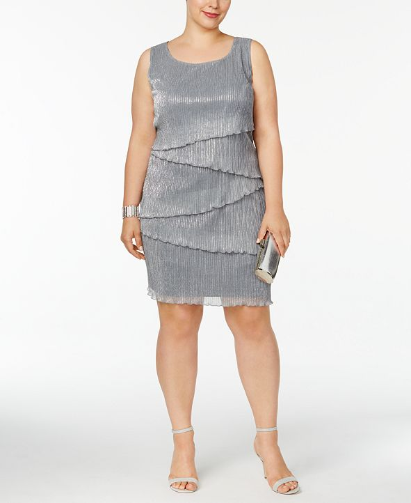 Connected Plus Size Tiered Textured Dress