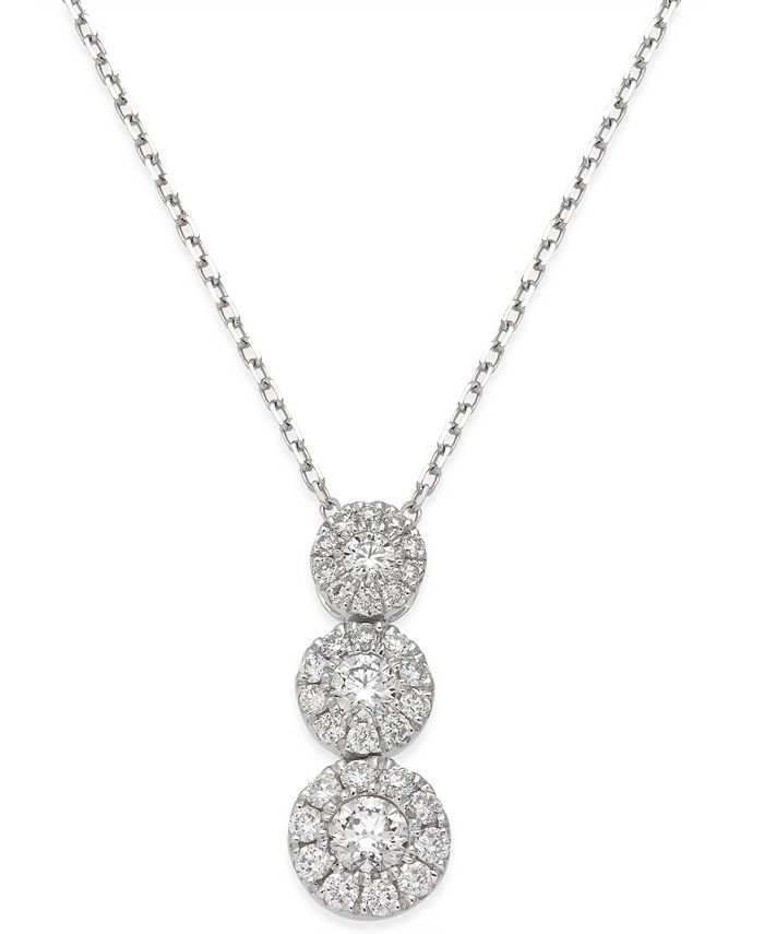 Macy's - Diamond Triple Halo Pendant Necklace (1/2 ct. t.w.) in 14k White Gold