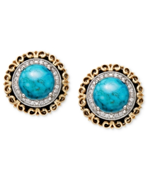 14k Gold and Sterling Silver Earrings, Turquoise and Diamond Accent Circle Studs