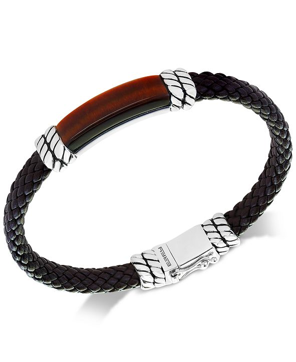 EFFY Collection EFFY® Men's Tiger's Eye Brown Leather Bracelet in Sterling Silver