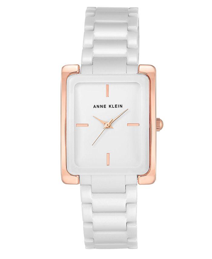 Anne Klein - Women's White Ceramic Bracelet Watch 28x35mm