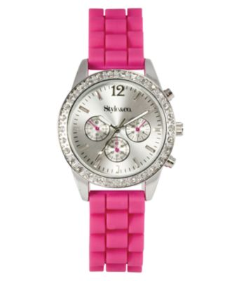 Style&co. Watch, Women's Pink Silicone Strap SC1202