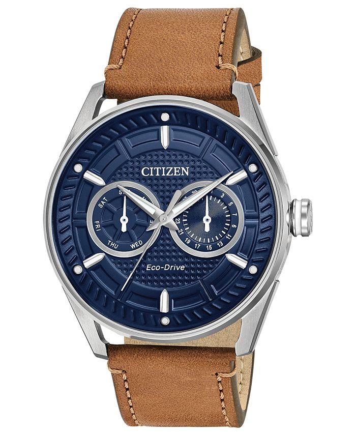 Citizen - Men's Brown Leather Strap Watch 42mm