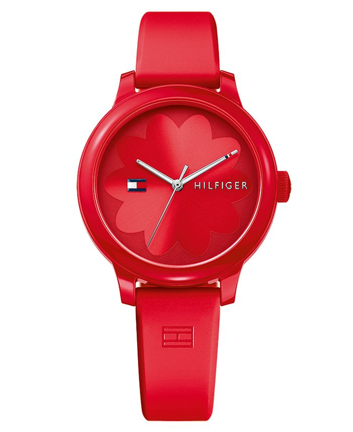 Tommy Hilfiger - Women's Red Silicone Strap Watch 38mm