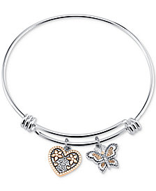 """Unwritten Two-Tone Butterfly and Heart """"Sisters"""" Charm Bangle Bracelet with Silver Plated Charms"""