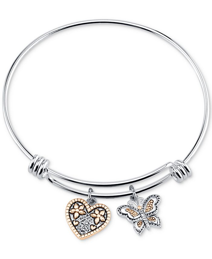 """Unwritten - Two-Tone Butterfly and Heart """"Sisters"""" Charm Bangle Bracelet"""