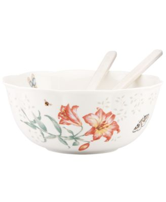 Lenox Dinnerware, Butterfly Meadow Salad Bowl with Servers