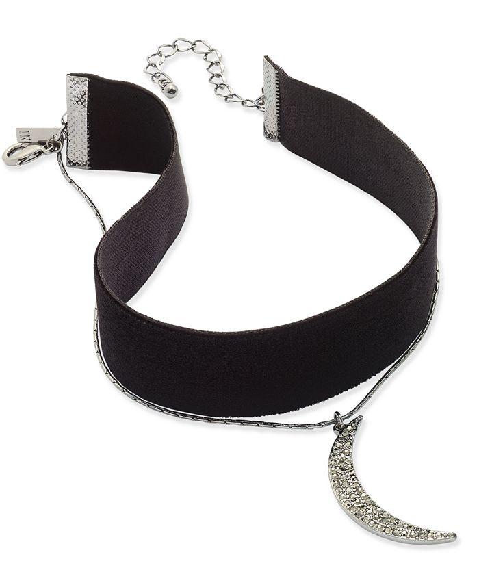 INC International Concepts - Hematite-Tone Two-Layer Moon & Velvet Choker Necklace