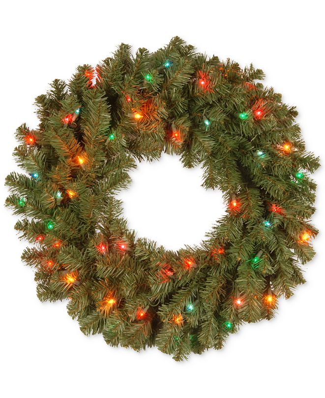 "National Tree Company 24"" Kincaid Spruce Wreath With 50 Multicolor Lights"