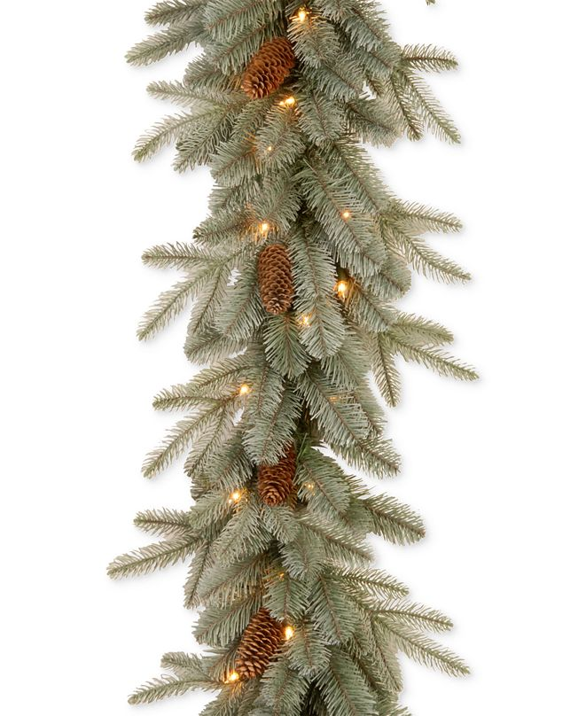 National Tree Company 9' Feel Real® Frosted Arctic Spruce Garland With Pine Cones & 50 Clear Lights